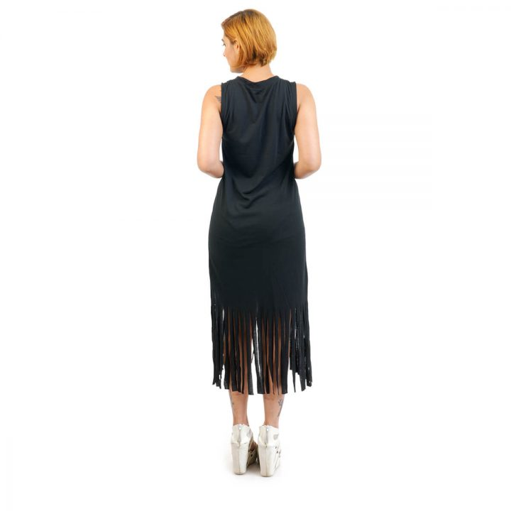 Spring Summer Dreamcatcher Pattern Tassel Dress in black color from Funky Fusion at Best Prices