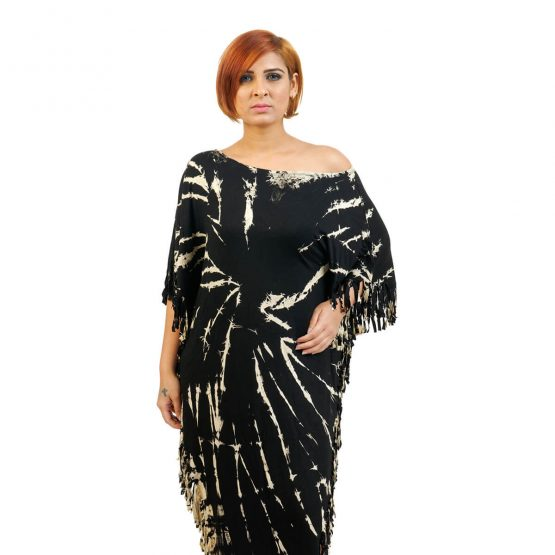 Poncho dress in Black & Beige color from FunkyFusion.in