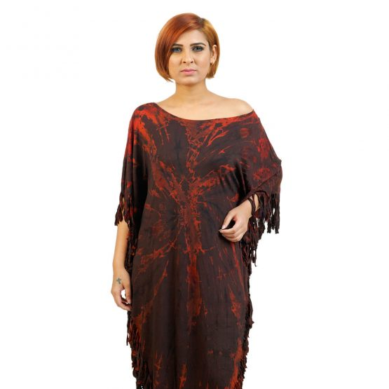 Fashion online for Rust brown colored poncho dress from FunkyFusion