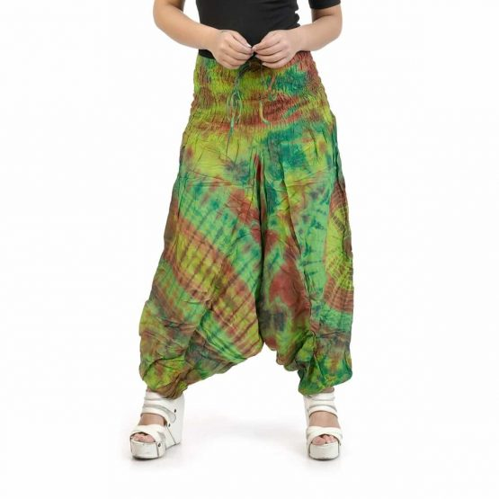 Parrot green with multi colors Afghan Trouser for Girls.