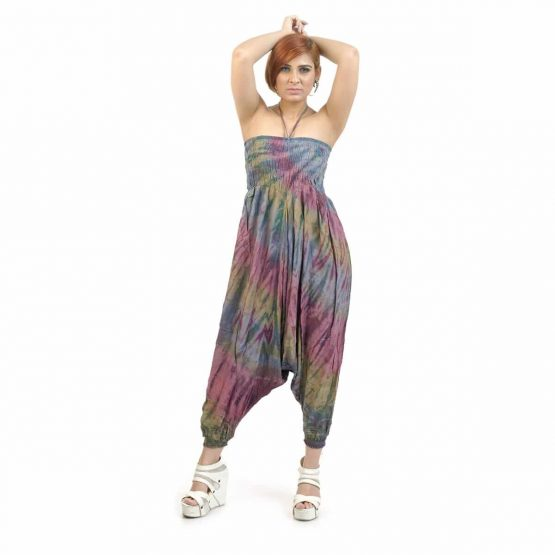 Grey colored with multi colors, Tie and Dye Afghan Trouser/ jumpsuit for Girls.
