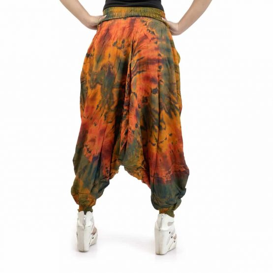 Orange Shade with multi colores Afghan Trouser/JumpSuit for Girls.